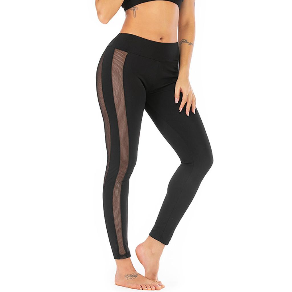 eafb7d3cfe55ff Happydeal Fashion Women Mid Waist Solid Color Yoga Pant Perspective Running  Sport Leggings