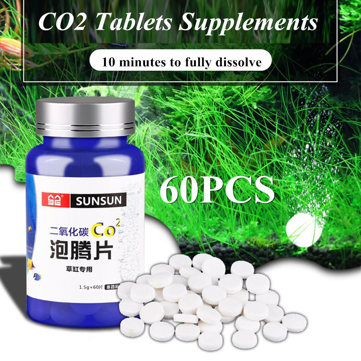 60Pcs CO2 Tablet Supplement Carbon Dioxide Diffuser Aquarium Fish Tank  Water Plants Growth