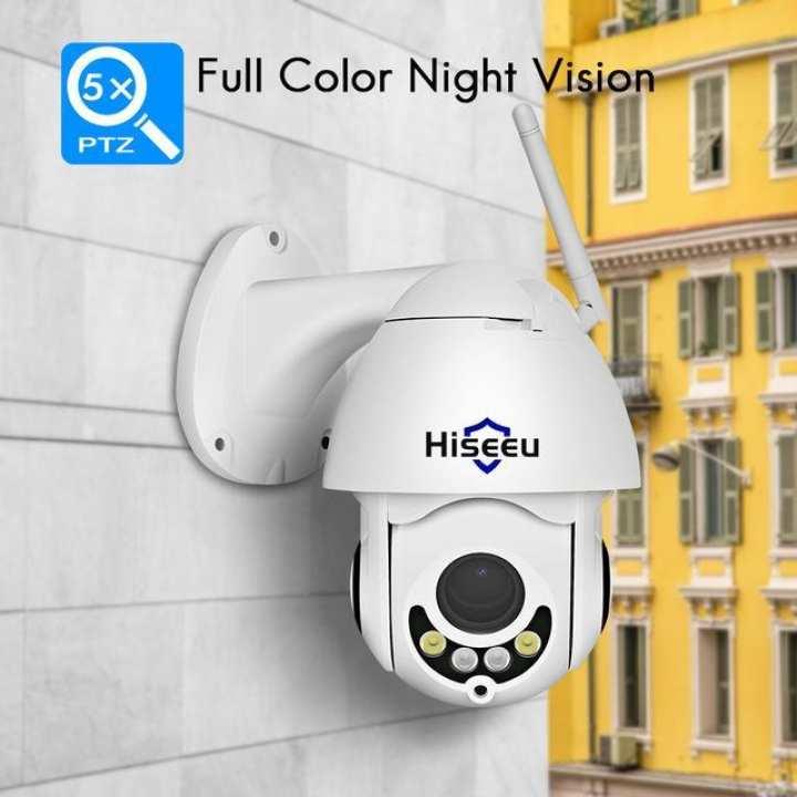 Hiseeu 1080P PTZ 5X Zoom Outdoor IP Camera with Audio Function 2MP Color Night Vision P2P CCTV Security Camera --- EU Plug / US plug