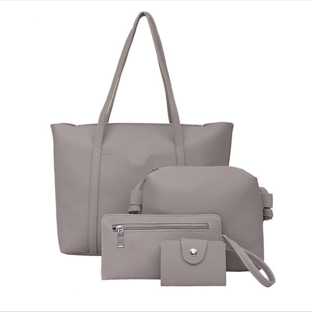 78773f52f13 4pcs/Set Fashion Women Bag Shoulder with Fur Ball Casual Travel Handbag