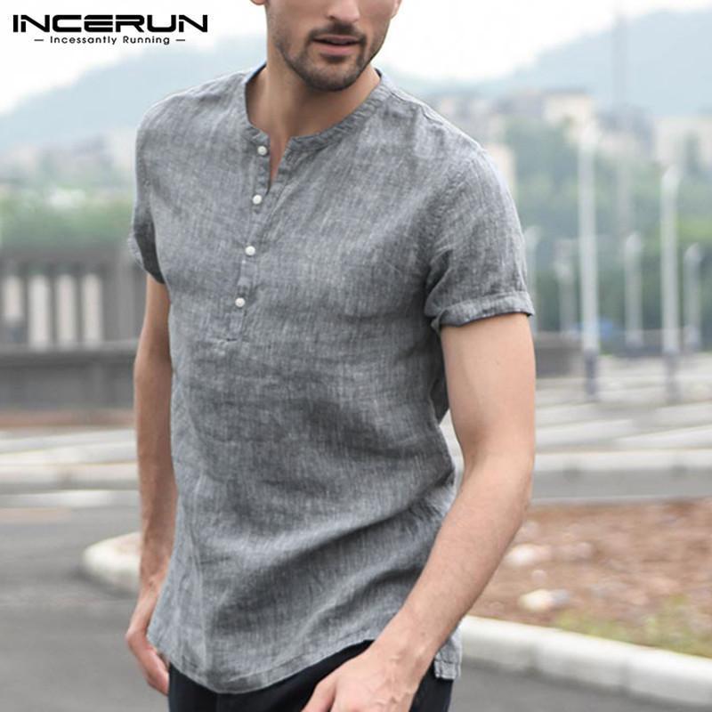 INCERUN Mens Solid Casual Linen Breathable Collarless Shirt Short Sleeve T Shirt