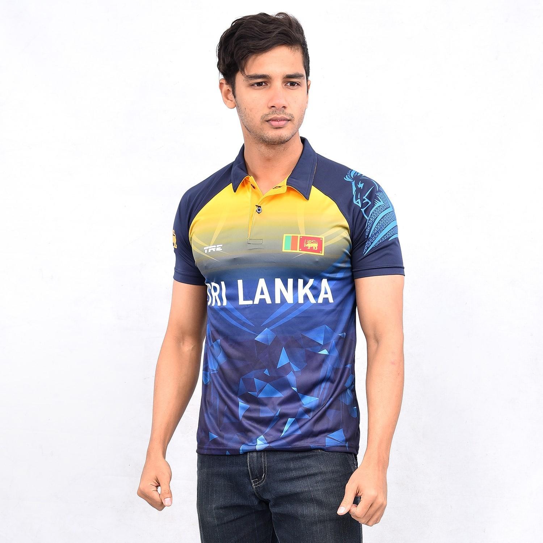 TRE Men's Sports Sri Lanka Cricket Fan T-Shirt With Collar (Dry Fit)