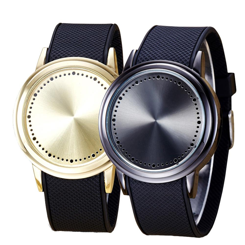 Fashion Couple Touch Screen Circular Pattern Silicone Band LED Wrist Watch
