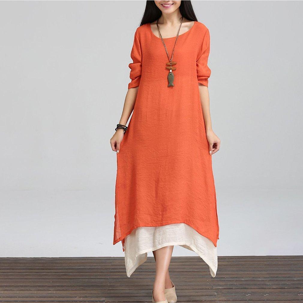 JoyLife Female Autumn Long-sleeved Dress Loose Waist Long Length Dresses