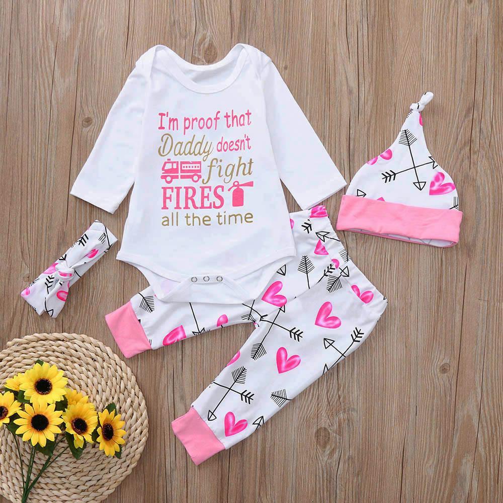 2c26ce4f91cbd 2019 4Pcs Newborn Baby Girls Boys Letter Arrow Romper Jumpsuit Pants Outfits  Set