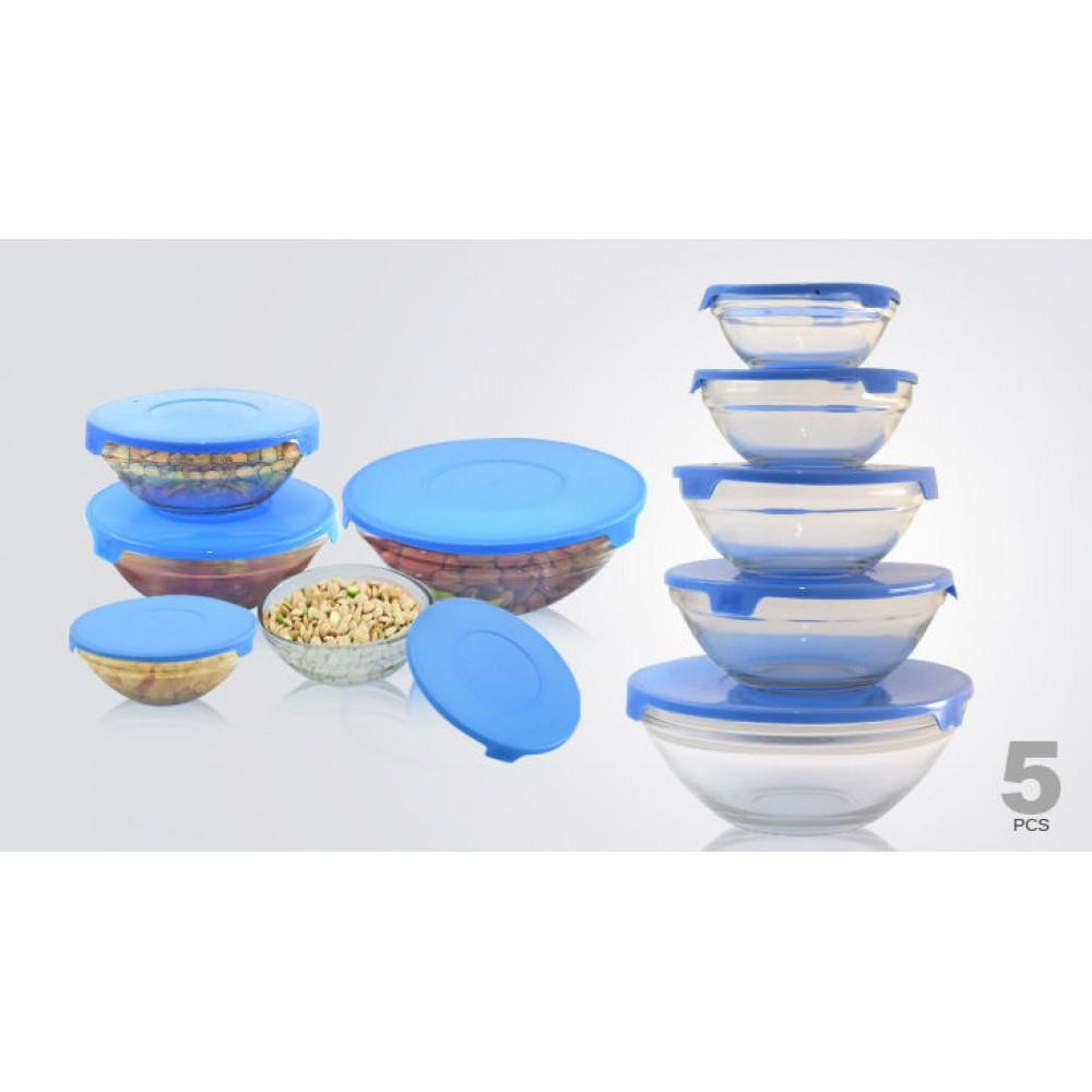 5 Piece Glass Bowl Set Food Box Storage Stacking Containers with Lids Microwave