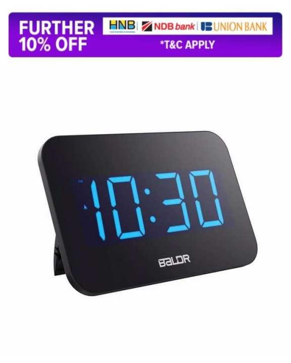 Baldr Electronic LED Large Screen Digital Desk Clock With Blue Backlight Desktop Wall Decoration Alarm Clock Easy To Set Multi